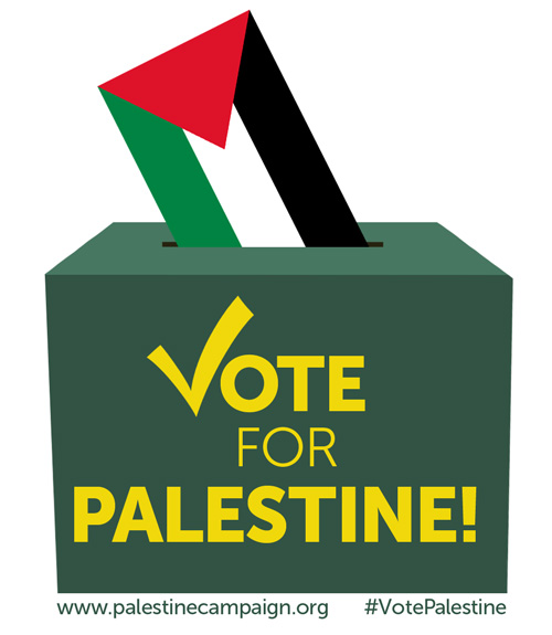 Vote Palestine image of ballot box
