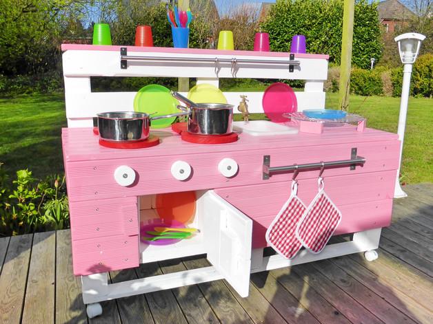 Outdoor Küche Für Kinder : Palettenmöbel holz kinderküche matschküche pl rosa für garten