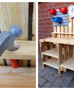 Kinder Werkbank aus Paletten Holz Palettery2