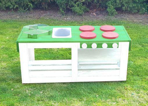 Kinderküche Matschküche 360 Grad aus Paletten - grün