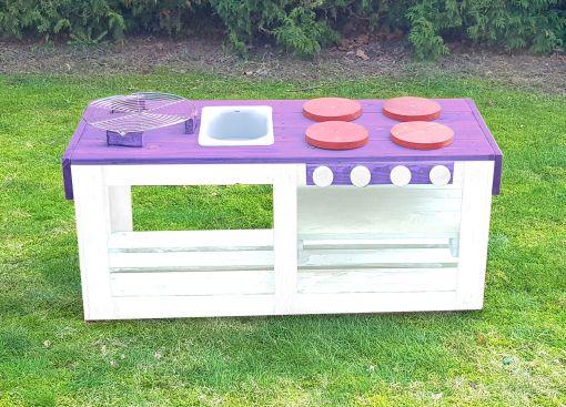 Kinderküche Matschküche 360 Grad aus Paletten - lila