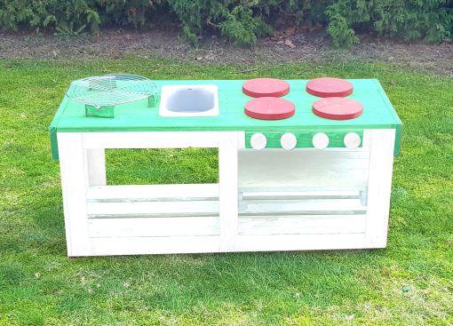Kinderküche Matschküche 360 Grad aus Paletten - mintgrün
