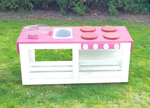 Kinderküche Matschküche 360 Grad aus Paletten - rosa