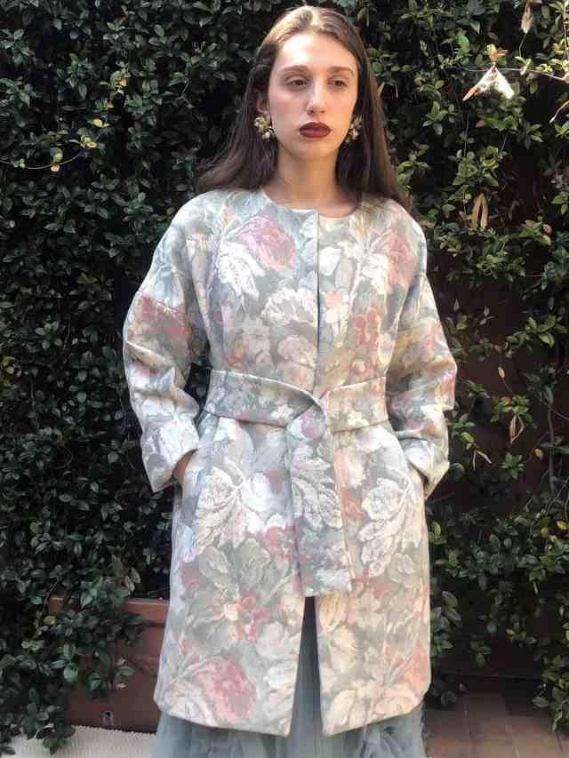 Lille cotton viscose jacquard cotton overcoat