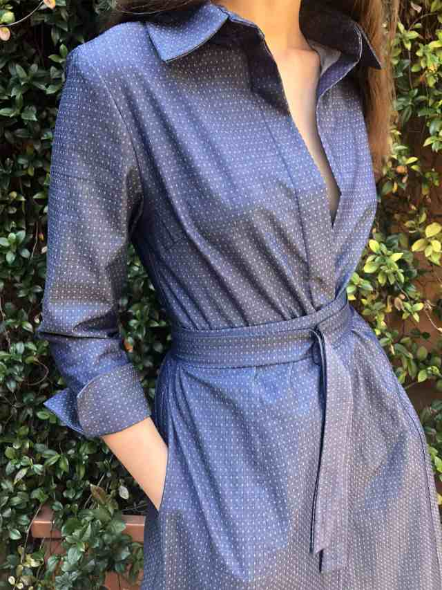 Jacquard ultralight denim shirt dress