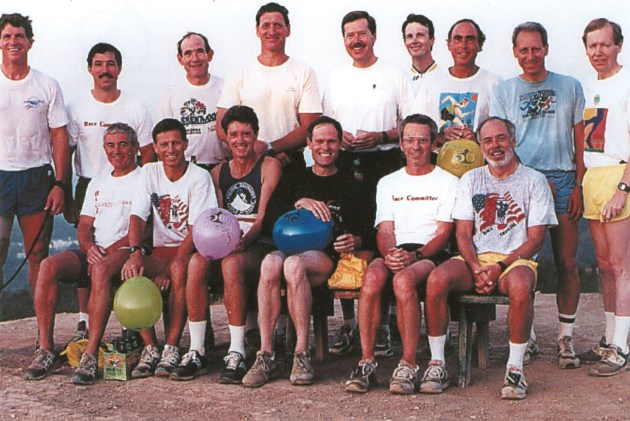 The Ridge Runners cool down after completing yet one of their many journeys, this one atop Inspiration Point above Will Rogers in the late 1980s. (Front row, left to right): Tim McNamar, Dick Lemen, Cliff Schleuter, Peter James, Bill Klein, Tony Rosenthal, and (back row, left to right) John Montanaro, Kevin Ehrhart, Don McCarthy, Bob Klein, David Hibbert, Kevin Herz, Chris Carlson, Jon Varat and Lynn Borland.