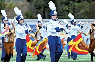 The 80-member Palisades High School Marching Band won the 2014 Southern California Schools Band and Orchestra Association 3A division on Saturday, November 22 at Chino.  Photo: Mark Galasso