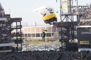 Falzone lands at the 2010 Army/Navy game.