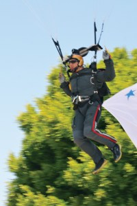 Tom Falzone about to land at the beginning of the 2014 parade. Photo: Shelby Pascoe