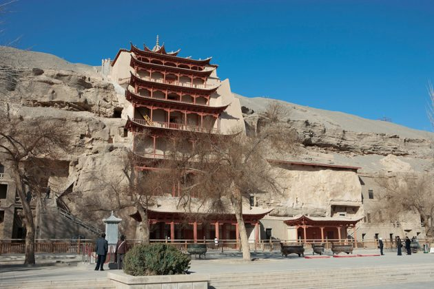 The nine-story temple (Cave 96) houses a colossal Tang dynasty Buddha statue some 33 meters Cave 275 view of the interior and sculpture of a bodhisattva, Northern Liang dynasty (108 feet) high. Mogao caves, Dunhuang, China. Photo: ©Dunhuang Academy