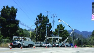 A pole-top electrical distributing station was installed at Temescal Canyon Road and Sunset Boulevard. Photo: Sawyer Pascoe