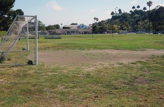 The small field next to the buildings is called the Garden field and was given to AYSO. The large field nearer Sunset was given to a club soccer team by LAUSD. Photo: Sawyer Pascoe
