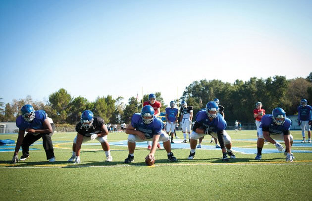 PaliHi's offensive line practices for its season opener on August 26. Left to right, Syr Riley, Jimmy Reyes, Gage Stauff, Cole Aragon and Brandon Castro.