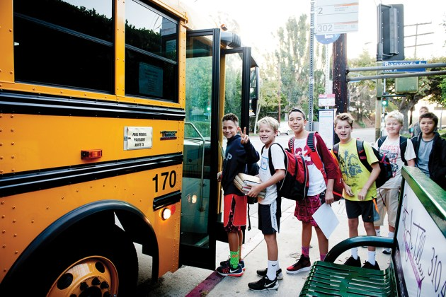(Left to right) Jack Bentley (6th grade), Blake Pecsok (6th), Luke Shuman (7th), Milo Dunne (6th), Finn Dunne (7th) and Brady Hall (6th) are among the Palisades students taking the parent-sponsored bus to Revere. Photo: Lesly Hall