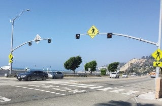 Caltrans will replace this blinking pedestrian light with a safer one at 16521 PCH.