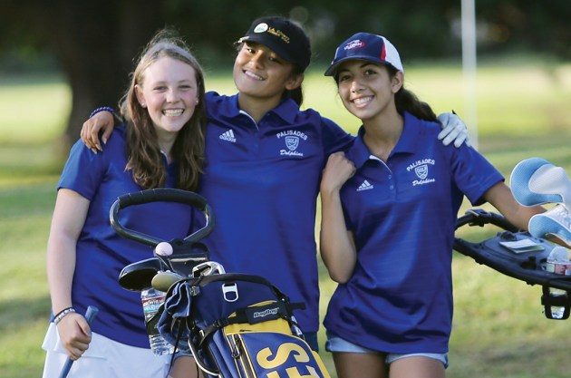 "(Left to right) Carly Weitz, Melanie Matayoshi and Camila Paleno are three key returnees for the up-and-coming PaliHi ""Golfin Dolphins!"""