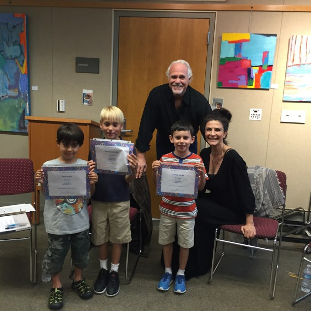 Photo: (Left to right) Jace Brett (second), Paul Lunkewitz (first) and James Marks (third) in the first and second grade category posed with actors Bill Jones and Christine Kjudjian.