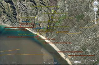 """Pollution Causality - Google Earth shot from 8620'. The Coastal Interceptor Sewer (CIS) runs along the Los Angeles County shoreline from Malibu to El Segundo. Orange lines designate earthquake faults known to exist (since 1930) prior to the initiation of the California State Geologist's Seismic Hazards Mapping Program (1990). This July 31, 2007 satellite shot clearly shows the CIS rupture-point from the 1994 6.0-Richter upthrusting shear-jolt at the Potrero Canyon earthquake fault line and the subsequent amount of crap along the shoreline sitting on the ocean bottom 13 years after the Northridge earthquake! Orange line from USGS earthquake software app can be seen to continue across the Huntington Palisades neighborhood, the fissure (like a sidewalk crack with liquid crap flowing into it) ending at Rustic Canyon creek. This evidence was presented to the L.A. City Attorney, Councilman Bill Rosendahl's office and the BOE in April, June and August of 2010. Three additional faults are located in the City of Santa Monica. Note the pollution fan at the outflow from the two dozen+ 70-year-old septic tanks located adjacent Rustic Canyon creek/West Channel Road & Chautauqua in Pacific Palisades. Note also a much larger, darker pollution fan at PCH & Wilshire in Santa Monica extending across the sand into the ocean. Internally PVC slip-sleeving the CIS in the aftermath of Northridge would have prevented this ongoing environmental catastrophy. Thus, two major pollution sources, old, non-maintained septic tanks near a BOS-designated """"303d impaired river"""", Rustic Canyon creek, plus multiple (estimated a 100+) breaks in the constantly overloaded 39"""" diameter 1924 Coastal Interceptor Sewer laid underneath PCH ARE the 81% of so-called """"UNKNOWN SOURCES"""" the NRDC speaks of in their Testing the Waters reports of 2009 & 2010. Note also so-called """"stormwater runoff"""" which the NRDC designates as a """"3% (only) causal pollution source"""" is supposed to be captured in a 1.25 million gallon, un"""