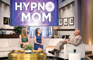 Hypnotherapist Lisa Machenberg (center) and her daughter, Rayna, discuss hypnoparenting with Steve Harvey on his show.