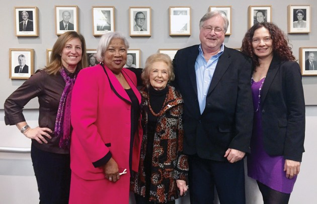 Left to right: Lizzy Moore, SMC Interim Dean of Institutional Advancement; Dr. Kathryn E. Jeffery, SMC Superintendent/President; Mitzi Blahd; Harvey Stromberg; and Gita Runkle, Dean of SMC's Emeritus program where Stromberg teaches and Blahd is a student.