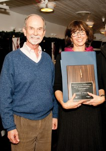 Karen Stigler and presenter Doug McCormick.