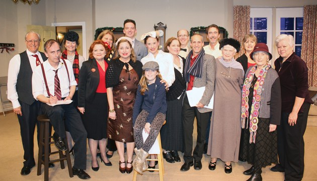 Cast and crew of the Theatre Palisades Actors Troupe are, front row, left to right: Manfred Hofer, Martha Hunter, Maria O'Connor, Ava Dixon (on stool), Wendy Taubin, Valerie Ruel, Steve DeLuca, Julia Whitcombe, Margott Rifen- bark and Sherry Coon. Back row, left to right: Mitch Feinstein, Sue Hardie, Charmaine Glennon, Mark Fields David- son, Stephen Holland, Andrew Frew and Mary Allwright.