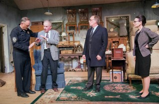 Matthew Rhodes, Jack Winnick, Philip Bartolf and Terri Parks in a scene from the Theatre Palisades production of Arthur Miller's The Price. Photo: Joy Daunis