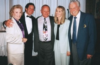 Former Pacific Palisades Honorary Mayors Nanette Fabray, Steve Guttenberg, Anthony Hopkins and John Raitt with Shelley Long. Photo: Marianne Ullerich