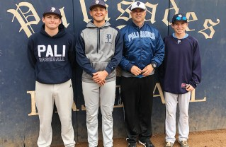 Coach Mike Voelkel with team captains (left to right) Benjie Taylor, Josh Barzilari and Jacob Kalt before a recent practice at Palisades High School.