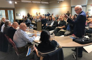The Palisades Library community room was packed for the eldercare hearing.