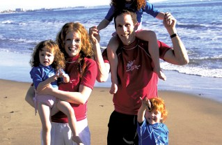 Billie and Eric Colton, shown here with their children Violet, Willow and Maia, own Fitness By the Sea summer camps. Photo courtesy of Eric Colton