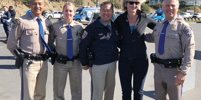 Pat Hines heads a PCH Safety Program. Law Enforcement officials were on hand when the program was announced in February at Will Rogers Beach.