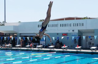 Maya Salvitti showed nearly perfect form with her dive.