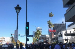 People gather outside Westfield Century City after reports of an active shooter Friday. Photo: Sam Catanzaro.