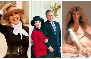 Left to right: Diane Keaton, Stevie Nicks and Rita Moreno with President Bush in 2004, prior to receiving the Medal of Freedom. Photos: Courtesy.