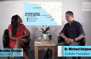 Edify TV's Brooke Thomas (left) talks with the Surfrider Foundation's Dr. Michael Daignault (right) about water quality in Santa Monica Bay.