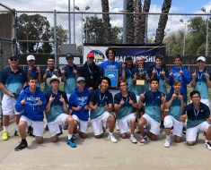 The Pali High boys tennis team pose with their first-place medals...for the 11th year in a row. Photo:Courtesy Palisades Charter High School.