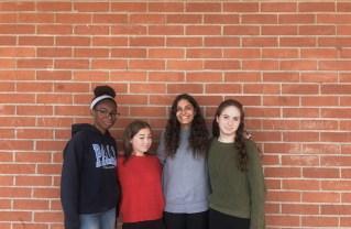 Left to right: Prisca Onyenechehe, Samantha Sinaiko, Kayla Tefilin, Emily Schwartz. Photos: Dorian Elyahouzadeh.