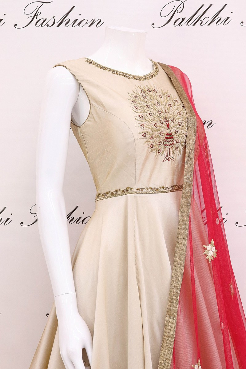 Light Grey Soft Silk Handwork Outfit with Beautiful Duppata