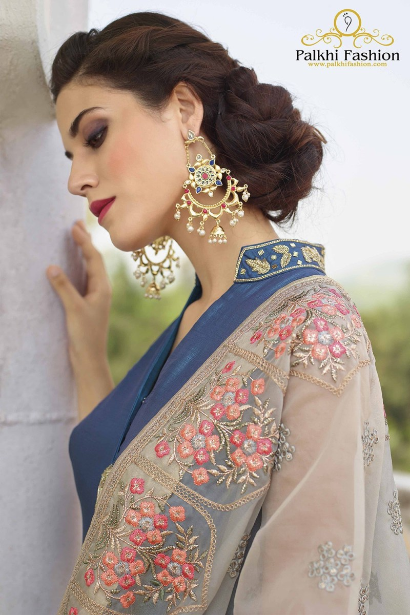 Blue Soft Silk Designer Outfit with Beautiful Hand Work Dupatta