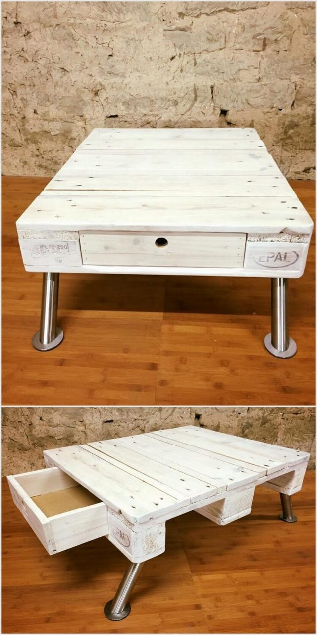 Repurposed Wood Pallet Table with Drawer