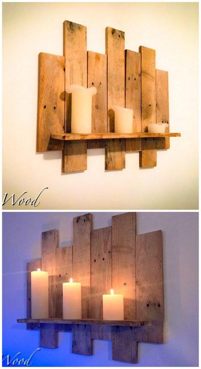Pallet Candles Wall Shelf