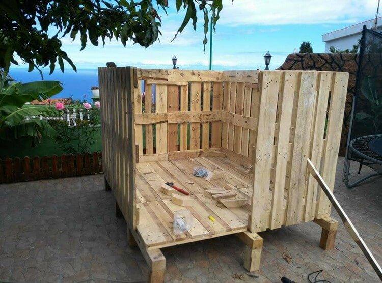 two pallets diy wood pallet garden shed or cabin pallet furniture gazette