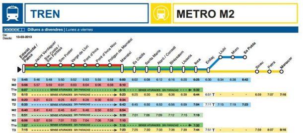 horario tren y metro