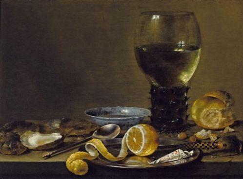 Willem Heda, Bodegón con copa Römer, panecillo y limón c 1640-43. Colección particular