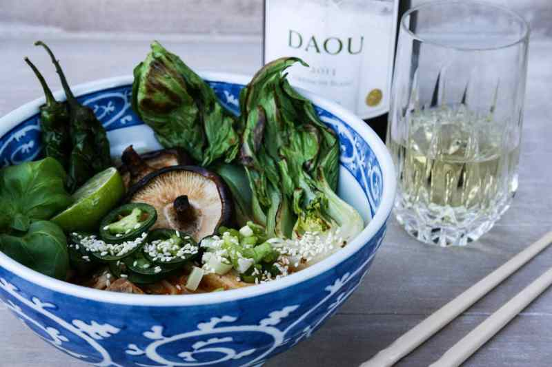 Thain noodle soup and Grenache Blanc