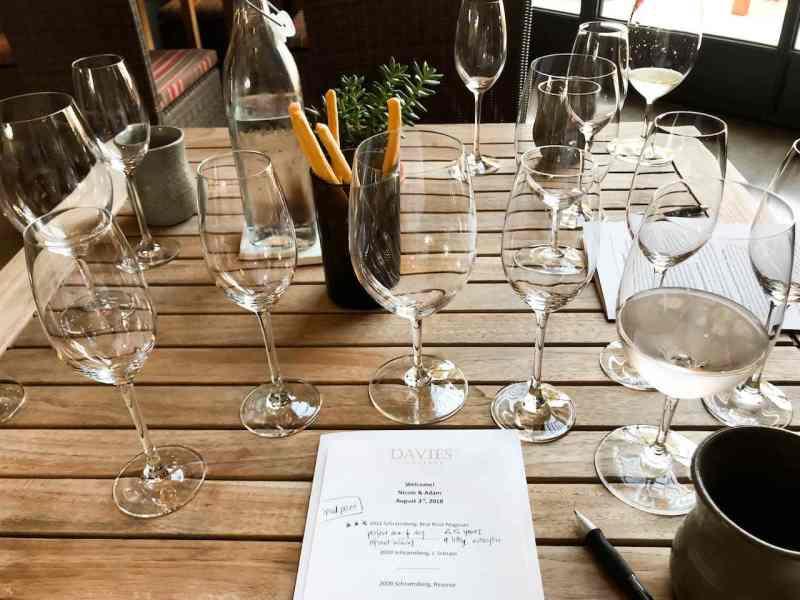 A personalized tasting menu at Davies Vineyards.