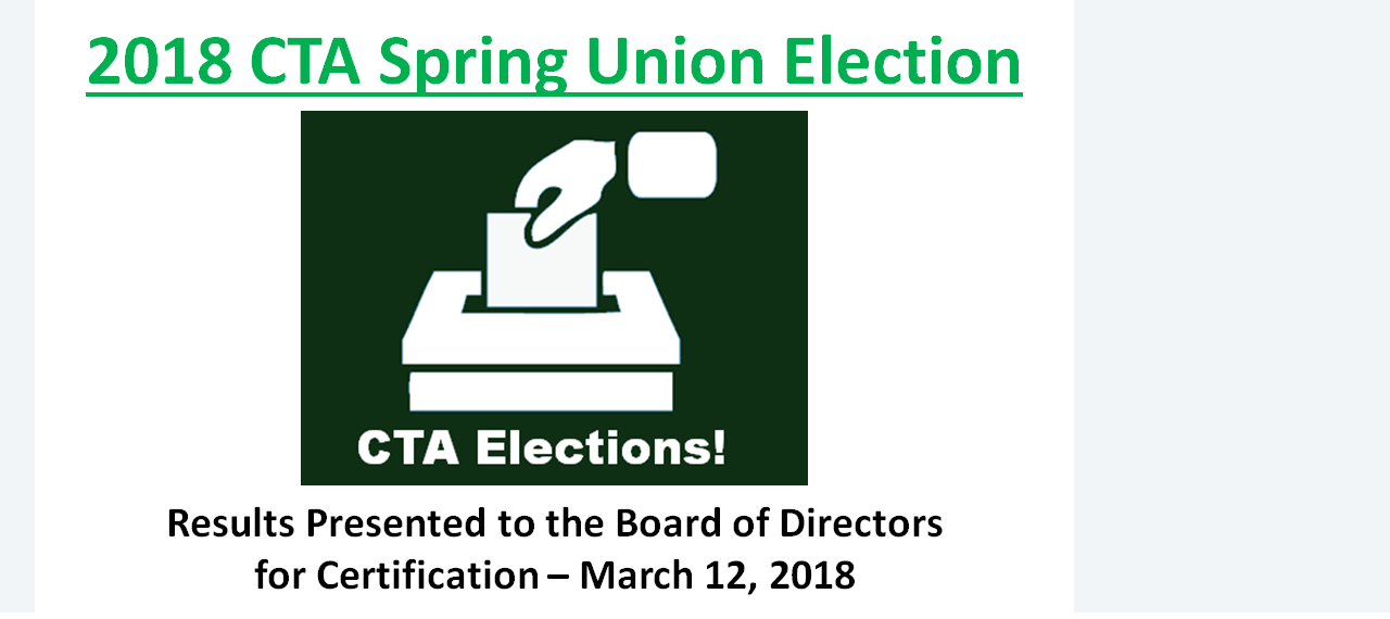 2018 CTA Election Results!