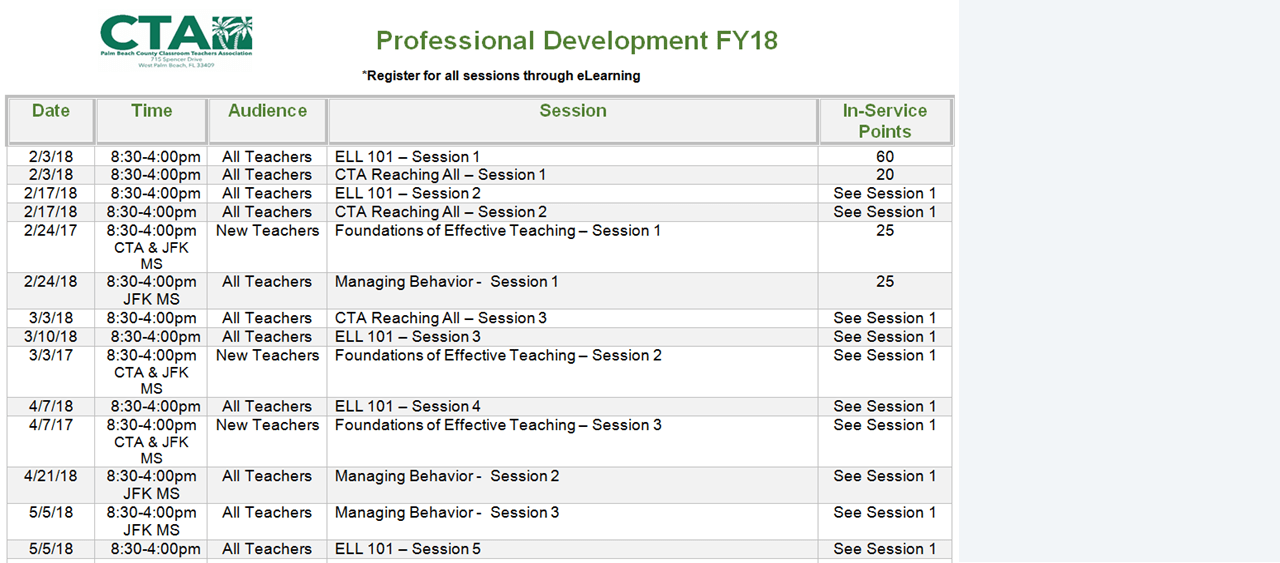 2018 Spring CTA Professional Development Schedule
