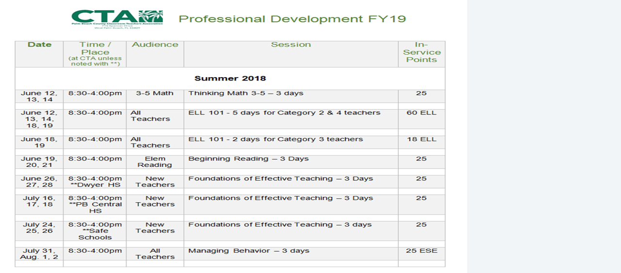 2018 Summer/Fall CTA Professional Development Schedule